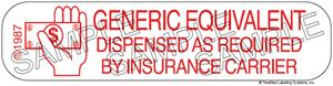Auxiliary Label - Generic Equivalent as Required by Insurance