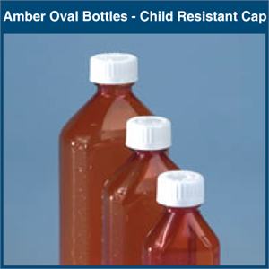Amber Plastic Oval Bottles Graduated With Child