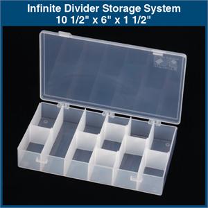 Infinite Divider Storage System - 10 1/2  x 6  x 1 1/2  (1 Box w/ 6 Dividers ) & Plastic Storage Bin - 4 7/8