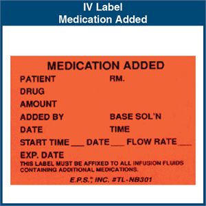 Iv Label Medication Added 1 75 Quot X 2 5 Quot 1 000 Labels