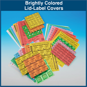 Brightly Colored Lid-Label Covers