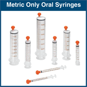 Oral Syringes Metric Only 100 Syringes